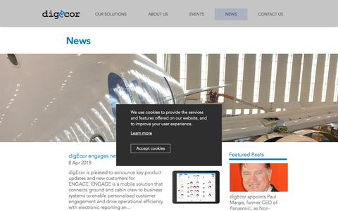 Screenshot of Press Page digecor.com - digEcor | News - captured Sept. 25, 2018