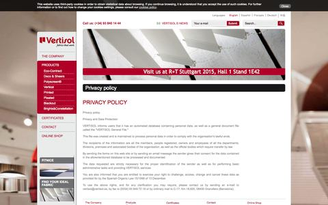 Screenshot of Privacy Page vertisol.es - Privacy policy - captured Oct. 26, 2014