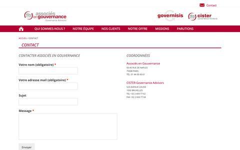 Screenshot of Contact Page associes-gouvernance.com - Contact - Associés en gouvernance - captured Oct. 10, 2018