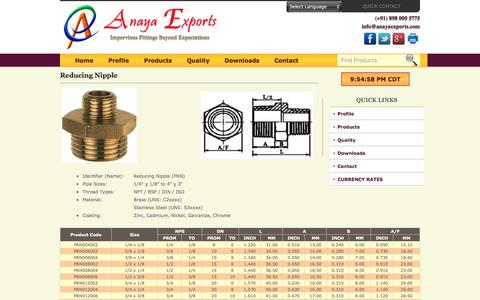 Screenshot of anayaexports.com - Reducing Nipple of Brass and Stainless Steel - captured May 11, 2016