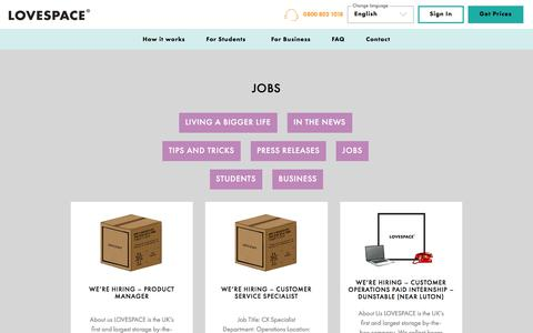 Screenshot of Jobs Page lovespace.co.uk - Jobs Archives - LOVESPACE - captured Aug. 21, 2019