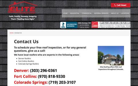 Screenshot of Contact Page elite-roofs.com - Contact Us | Elite Roofing Colorado | Denver Roofers - captured Nov. 5, 2016