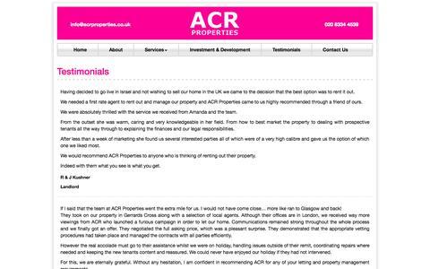Screenshot of Testimonials Page acrproperties.co.uk - Testimonials   ACR Properties - captured Oct. 4, 2014