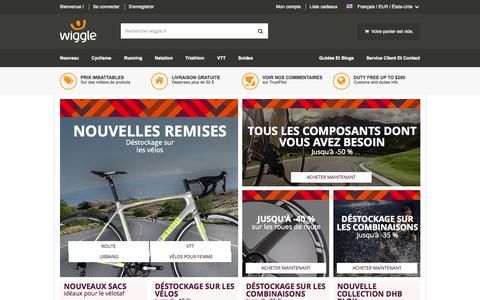 Screenshot of Home Page wiggle.fr - Cyclisme | Running | Natation | Triathlon Wiggle France - captured Aug. 31, 2015