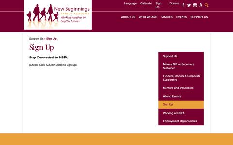 Screenshot of Signup Page nbfacademy.org - Sign Up – Support Us – New Beginnings Family Academy - captured Oct. 18, 2018