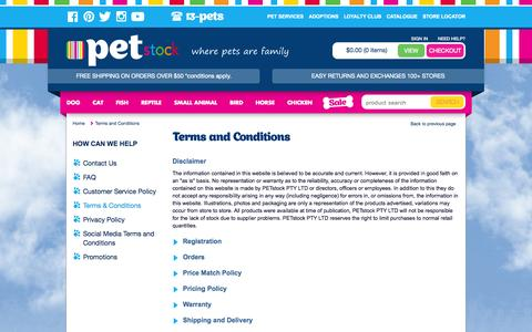 Screenshot of Terms Page petstock.com.au - Terms and Conditions | PETstock - captured Oct. 30, 2014