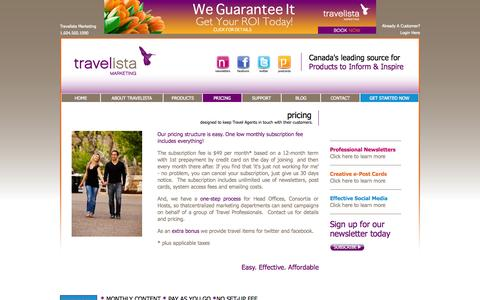 Screenshot of Pricing Page travelistamarketing.com - pricing   www.travelistamarketing.com - captured Oct. 7, 2014