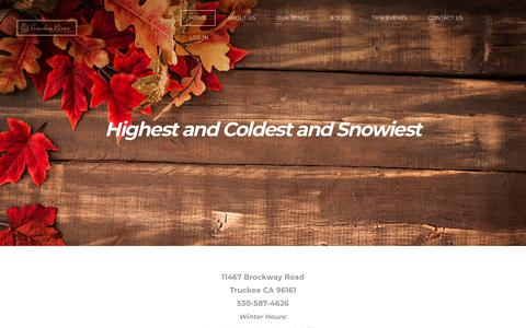Screenshot of Home Page truckeeriverwinery.com - HIGHEST AND COLDEST AND SNOWIEST - HOME - captured Nov. 22, 2018