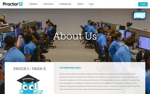 Screenshot of About Page proctoru.com - About ProctorU | ProctorU - captured Oct. 15, 2016