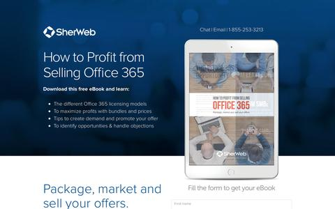 Screenshot of Landing Page sherweb.com - Office 365 Partner Profit eBook | SherWeb - captured Sept. 20, 2017
