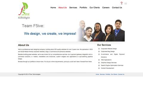 Screenshot of About Page f5ive.com - Corporate Web designing   E-Commerce Solutions Chennai  Blog Design    F5ive Technologies - captured Oct. 5, 2014