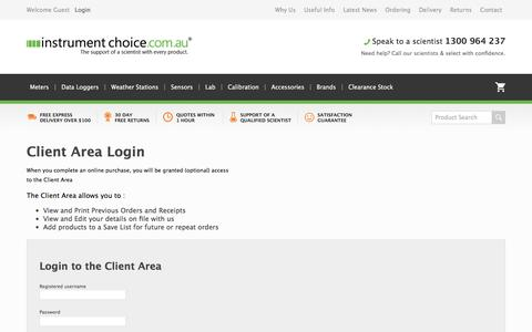Screenshot of Login Page instrumentchoice.com.au - Instrument Choice Client Area : Login to update your account details, see order history and more - captured Aug. 19, 2019