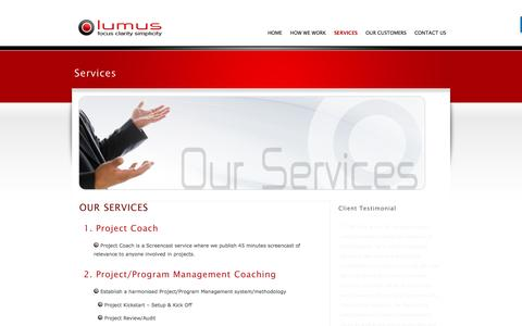 Screenshot of Services Page lumus.ie - Services - captured July 18, 2016