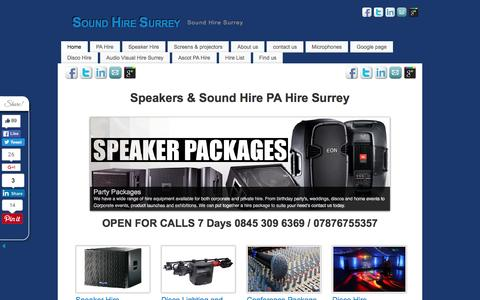 Screenshot of Home Page surrey-sound-hire.co.uk - Surrey sound hire Speaker Sound Hire PA Hire Surrey Speakers pa - captured June 7, 2016