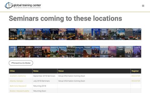 Screenshot of Locations Page globaltrainingcenter.com - Global Training Center - Cities with Scheduled Import Export Seminars - captured May 7, 2018