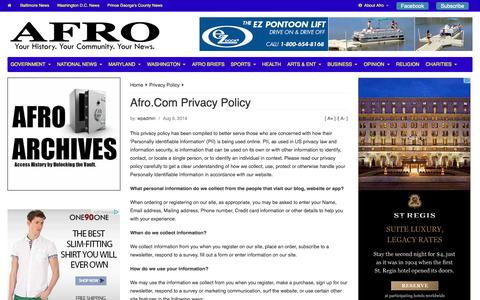 Screenshot of Privacy Page afro.com - Afro.Com Privacy Policy | Afro - captured Nov. 4, 2014