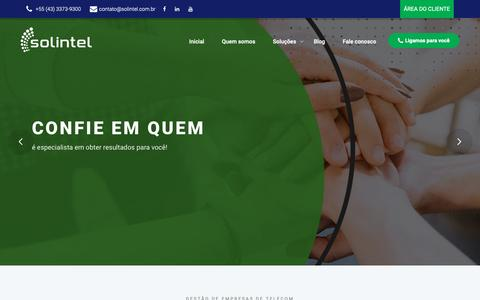 Screenshot of Home Page solintel.com.br - Solintel - captured Oct. 19, 2018