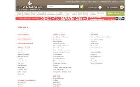 Screenshot of Site Map Page pharmaca.com - sitemap - captured July 19, 2014