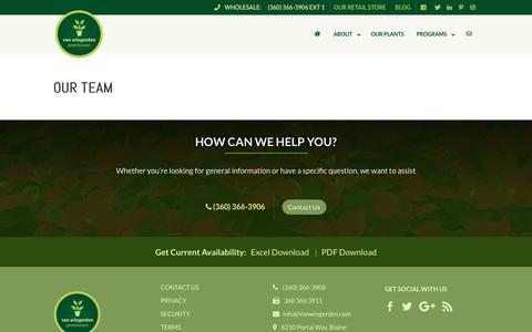Screenshot of Team Page vanwingerden.com - OUR TEAM - Van Wingerden Greenhouses - captured Nov. 18, 2018