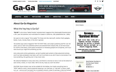 Screenshot of About Page ga-ga.com - About Ga-Ga - the pop culture arts magazine - captured March 13, 2016
