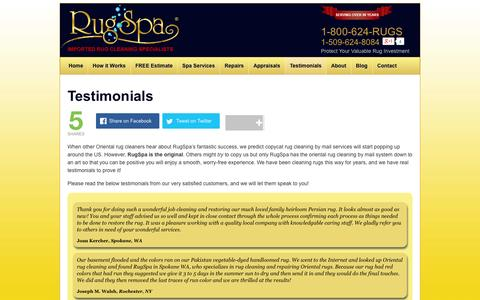 Screenshot of Testimonials Page rugspa.com - Testimonials | Profession rug cleaners for oriental rug cleaning with over 94 years experience! - captured Sept. 30, 2014