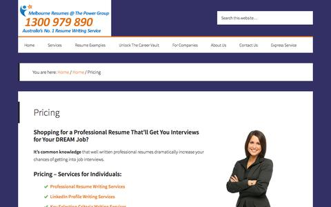 Screenshot of Pricing Page melbourneresumes.com.au - Resume Writing Services Prices | Resume Writing Services - captured Oct. 27, 2014