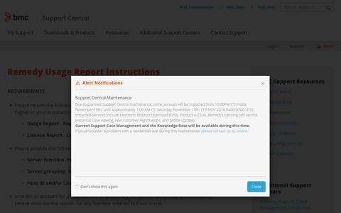 Screenshot of Trial Page bmc.com - Remedy Usage Report Instructions - BMC - captured Nov. 16, 2016