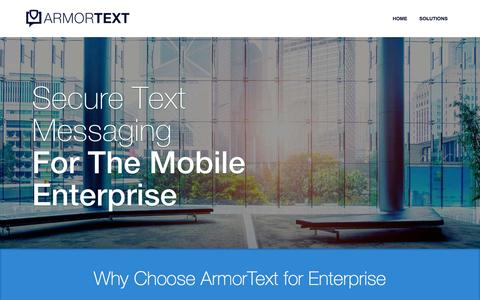 Screenshot of Home Page armortext.co - Secure Text Messaging: The Mobile Enterprise | ArmorText - captured Oct. 4, 2014