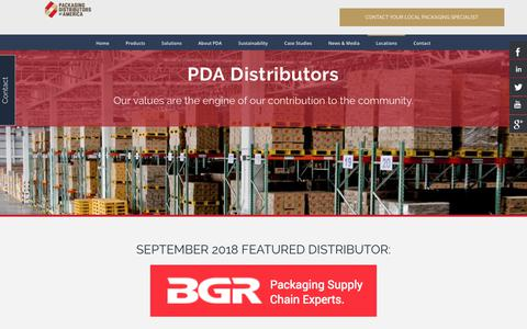 Screenshot of Locations Page pdachain.com - Locations | Packaging Distributors of America - captured Sept. 25, 2018