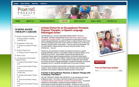 Screenshot of Jobs Page cobbpediatric.com - Cobb Pediatric Therapy ServicesCobb Pediatric has Health Care Job Openings for Therapists - Top School Based Speech & Occupational Therapy Jobs & More - captured Oct. 2, 2014