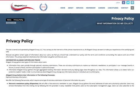 Screenshot of Privacy Page allagashgroup.com - Privacy Policy » Allagash Group - captured Oct. 4, 2014