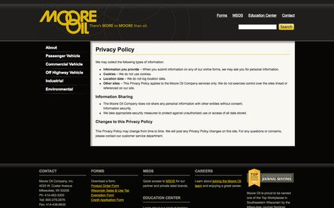 Screenshot of Privacy Page mooreoil.com - Privacy Policy | Moore Oil - captured Oct. 26, 2014