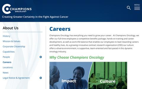 Screenshot of Jobs Page championsoncology.com - Careers - captured Feb. 21, 2020