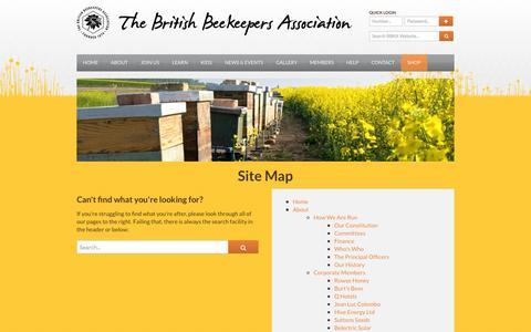 Screenshot of Site Map Page bbka.org.uk - Sitemap - British Beekeepers Association (BBKA) - captured Sept. 22, 2014