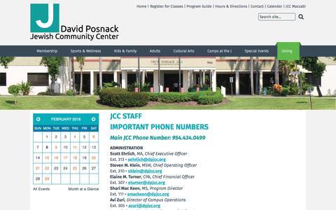 Screenshot of Contact Page dpjcc.org - David Posnack JCC - JCC Staff - captured Feb. 8, 2016
