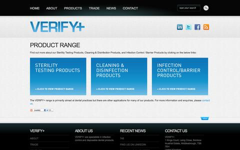Screenshot of Products Page verifydental.com - VERIFY+ Product Range, Sterility Testing Products, Cleaning & Disinfection Products, Infection Control / Barrier Products, Dental Practices - captured Oct. 26, 2014