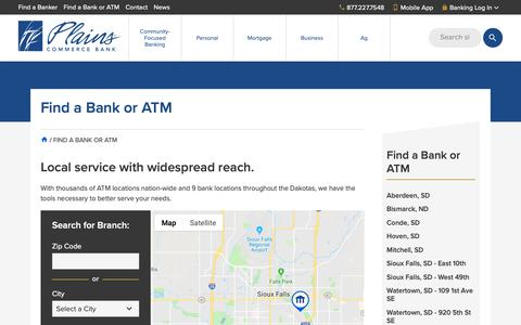 Screenshot of Locations Page plainscommerce.com - Find a Bank or ATM | Plains Commerce Bank - captured Sept. 28, 2018