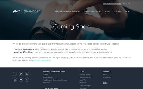 Screenshot of Developers Page yext.com - Coming Soon - Yext Developer Portal - captured Jan. 3, 2019