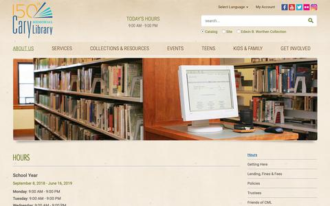 Screenshot of About Page Hours Page carylibrary.org - Hours | Cary Memorial Library, Lexington, Massachusetts - captured Sept. 27, 2018