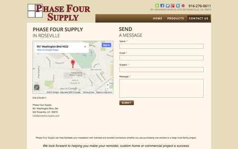 Screenshot of Privacy Page Contact Page phasefoursupply.com - Phase Four Supply : Contact - captured Oct. 22, 2014