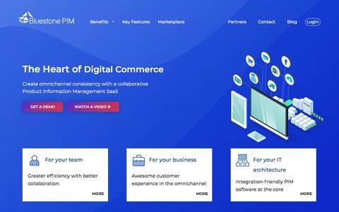 Screenshot of Home Page bluestonepim.com - Bluestone PIM - the Heart of Digital Commerce - captured July 7, 2018