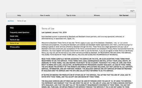 Screenshot of Terms Page dealdash.com - DealDash™ - Bid & Save - The fair & honest bidding site - captured July 13, 2018