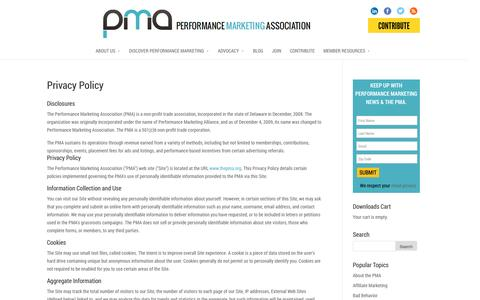 Screenshot of Privacy Page thepma.org - Privacy Policy | The PMA - captured Sept. 23, 2014