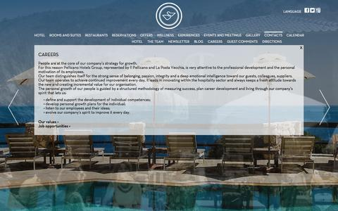 Screenshot of Jobs Page pellicanohotel.com - Five Star Luxury Hotel in Tuscany   Careers   The Leading Hotels of the World - captured Oct. 2, 2014
