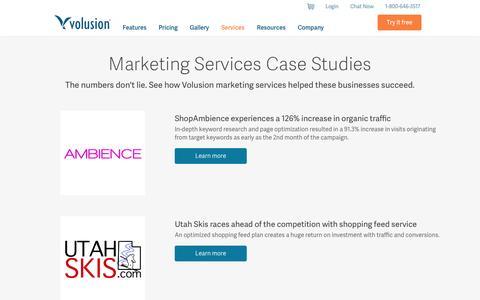 Screenshot of Case Studies Page volusion.com - Services - Marketing - Case Studies | Volusion - captured Oct. 10, 2014