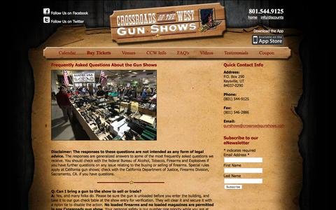 Screenshot of FAQ Page crossroadsgunshows.com - Frequently Asked Questions   Crossroads of the West Gun shows - captured April 7, 2016