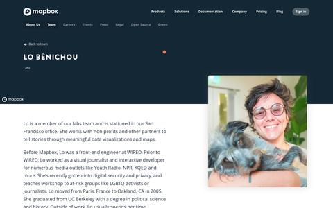 Screenshot of Team Page mapbox.com - Lo Bénichou   Mapbox - captured Feb. 19, 2019