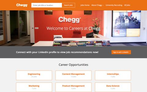 Screenshot of Jobs Page chegg.com - Chegg Careers | Job opportunities at Chegg - captured April 8, 2018