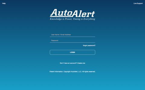 Screenshot of Login Page autoalert.com - AutoAlert | Login - captured July 20, 2019