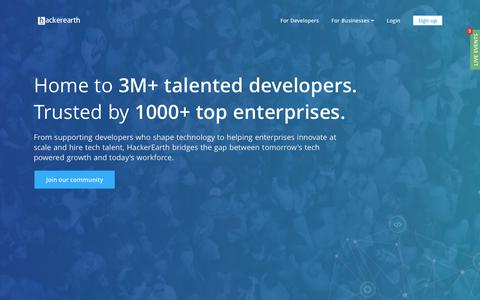 Screenshot of Home Page hackerearth.com - HackerEarth | Hackathons, Innovation Management, and Technical Recruitment software - captured March 13, 2019